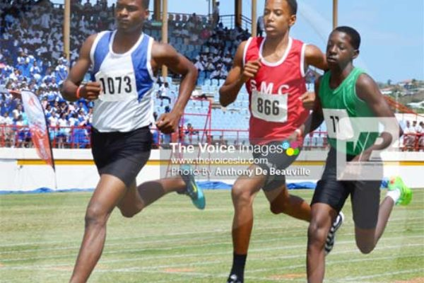 No. 1073 Corinth Secondary Reuben Nicholas wins the under-16 boys 800m. (PHOTO: Anthony De Beauville)