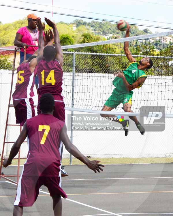 Image: SALCC's No. 4 Andre Marquis in devastating form against Soufriere. [Photo By Anthony De Beauville]