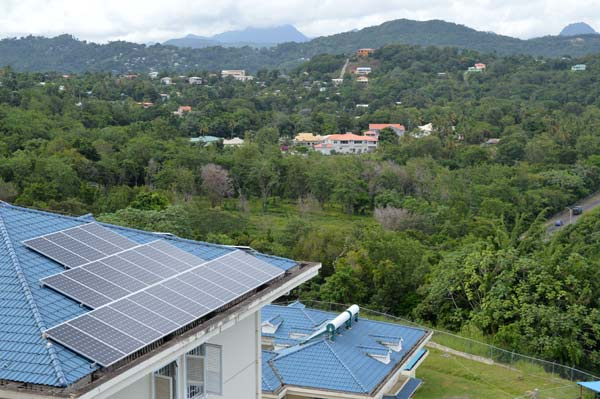In picture, solar panels on the roof at the Wellness Centre.