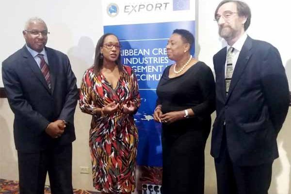 Pictured from left is Edward Greene, Division Chief, Technical Cooperation Division, CDB; Pamela Coke-Hamilton, Executive Director, Caribbean Export; Olivia Grange, Minister of Culture, Gender, Entertainment and Sport, Jamaica; and JesúsOrúsBáguena, Chargé D'Affairesa.i., Acting Head of Delegation of the European Union to Jamaica, Belize, The Bahamas, Turks and Caicos Islands and Cayman Islands