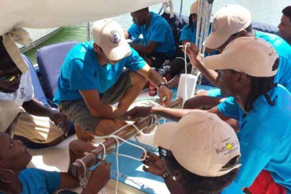 Image: Employees of Jus' Sail on the job.Credit Jus Sail