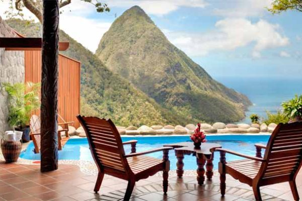 Image: Ladera offers a breath-taking view of The Pitons.