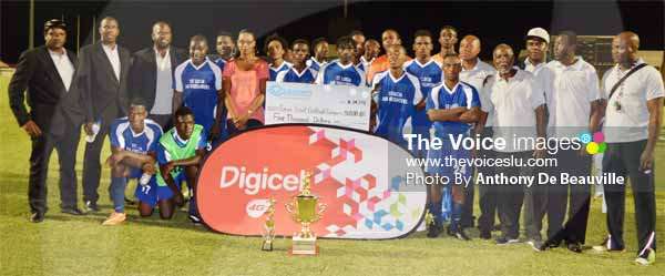 Image: A victorious Gros Islet with their technical staff. (PHOTO: Anthony De Beauville)