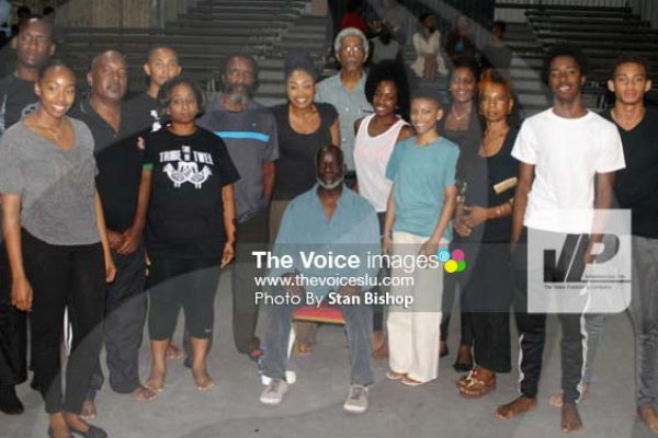 Image: World-acclaimed actor, Joseph Marcell, and participants at Monday's workshop at the National Cultural Centre. [PHOTO: Stan Bishop]