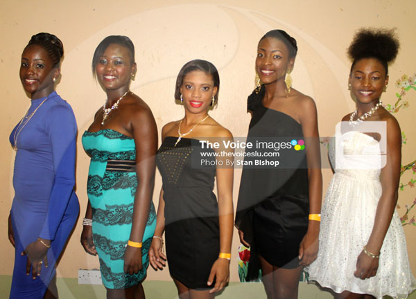 img:These five contestants will be vying for the crown in the Dennery Carnival Princess Pageant.