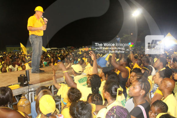 img:Prime Minister Chastanet addressing Sunday's rally at Micoud [PHOTO: Stan Bishop]