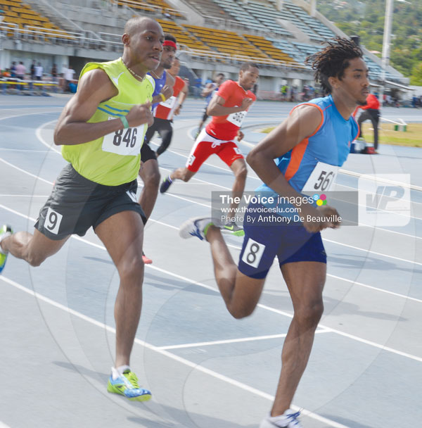 img:United States based athletes Michael James and Marbeq Edgar go head on in the 800 metres final.