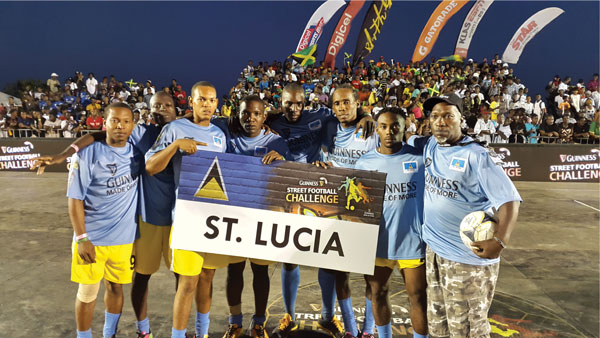 The St. Lucia team, champions of the Guinnes Street Football series last year.