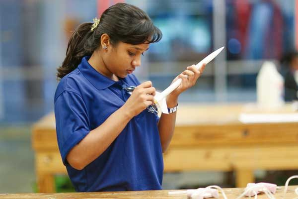 Image: At the Museum of Science & Industry, students built and launched model rocket ships.