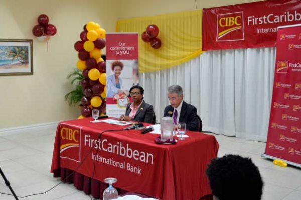 Image: CIBC FCIB Country Manager, Ladesa James-Williams alongside William Wright, Director, Business Banking.
