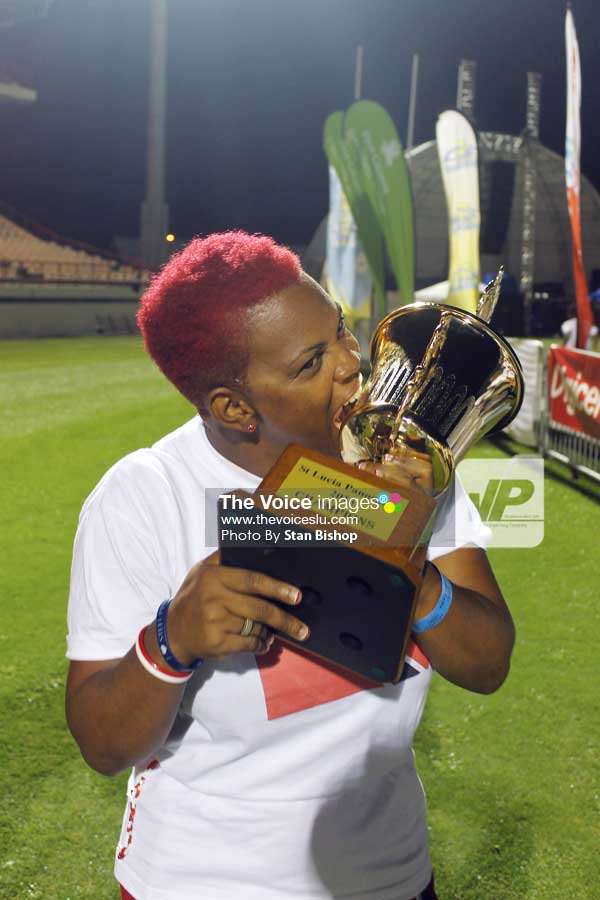 Image: Wilrock Laborie Steel Orchestra's band leader, Quill Barthelmy, relishes the band's first big win in ten years. [PHOTO: Stan Bishop]