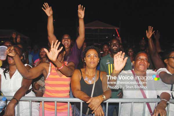 Image: Patrons seemed pleased with the high level of this year's calypsos despite the political campaign truncating the Carnival season. [PHOTO: Stan Bishop]