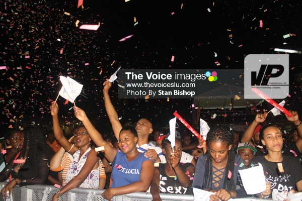 Image: Confetti, flags and loud chanting were common denominators at last Sunday's Groovy and Party Soca Monarch. [PHOTO: Stan Bishop]