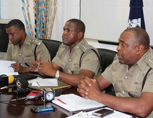 Image: Left to right: Inspector Dexter Felix, Assistant Superintendent Bernard Gaston, and Assistant Superintendent Gregory Alexander.