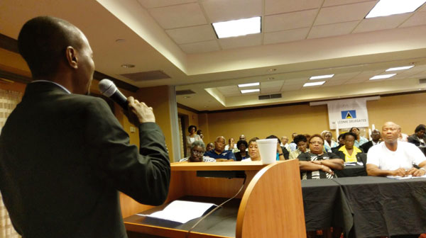 Image: Tourism Minister Fedee adressing gathering in Atlanta.