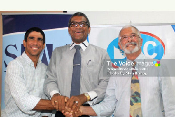 Image: WLBL's Managing Director, Sebastian Sanchez, Commerce Minister Bradley Felix, and DBC's Managing Director, Dunstan Du Boulay. [PHOTO: Stan Bishop]