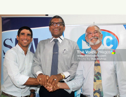 Image: WLBL's Managing Director, Sebastian Sanchez, Commerce Minister Bradley Felix, and DBC's Managing Director, Dunstan Du Boulay. [PHOTO: Stan Bishop]