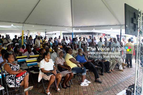 Image: A-With seating in Parliament limited, the alternative arrangements in Constitution Park sufficed for scores of people.