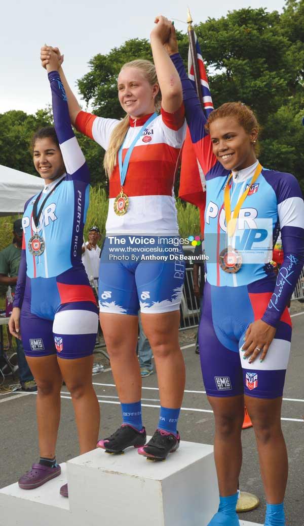 (L-R) Medalists in Women's Time Trials, CharlietteGolderos -Truillio (Puerto Rico), Alyssa Rowse (Bermuda) and Jougna Baez -Jimenez (Puerto Rico) - (Photo Anthony De Beauville)