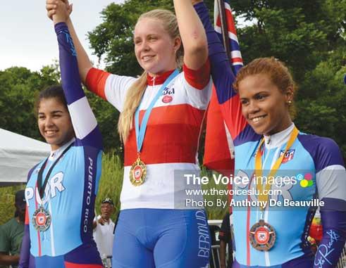 Image: (L-R) Medalists in Women's Time Trials, CharlietteGolderos -Truillio (Puerto Rico), Alyssa Rowse (Bermuda) and Jougna Baez -Jimenez (Puerto Rico) - (Photo Anthony De Beauville)