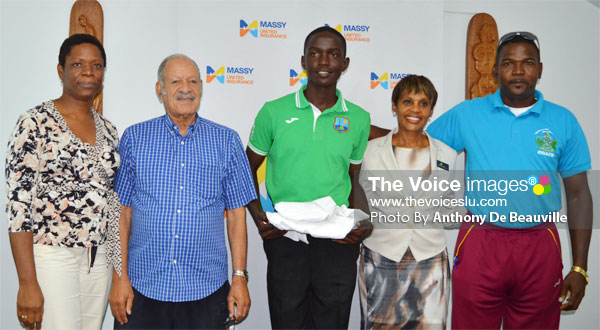 Image: (L-R) Schools Sports Coordinator Isabel Marquis, Massy United Insurance Director Hollis Bristol, Cricketer KimaniMellus, Massy United General Manager Faye Miller and Cricket Coach in the Ministry of Youth Development and Sports Alton Crafton. (PHOTO: Anthony De Beauville)