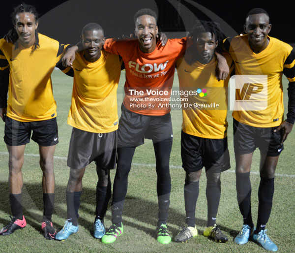 img: La Clery quintet celebrate their 5-4 penalty win over Dennery. (Photo Anthony De Beauville)