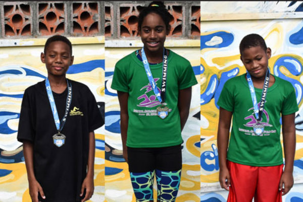 img; (L-R) New record holders Therron Herelle, Naima Hazell and Karic Charles. (PHOTO: RHAC)