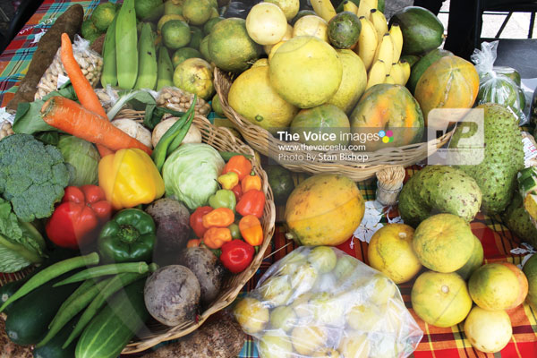 img: Local produce on display at a World Food Day exhibition in 2013. [PHOTO: Stan Bishop]