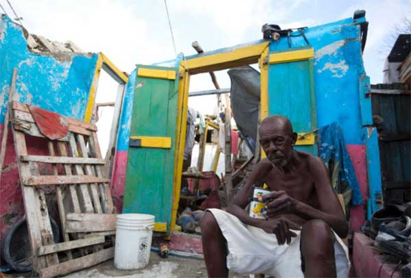 Image: A hurricane victim in Haiti.