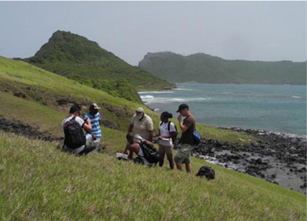 img: The survey team on Maria Minor, Saint Lucia.                                                                                       Credit: Jenny Daltry/FFI.
