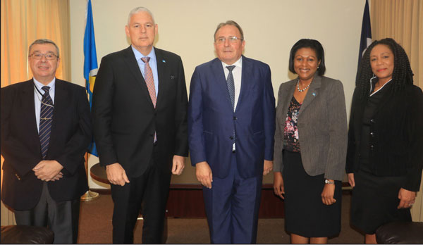 img: Left to right - Deputy Chief of Mission in the French Embassy Philippe Seigneurin, Prime Minister of Saint Lucia Hon. Allen M. Chastanet, Minister in the Ministry of External Affairs Sarah Flood –Beaubrun and Permanent Secretary in the Min. of External Affairs Dr. Rufina Frederick.