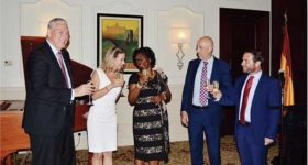 Image: The Governor General, The Prime Minster, Mrs Chastanet, the Ambassador of Spain and the Charge d' Affairs of the Embassy of Spain in Saint Lucia.