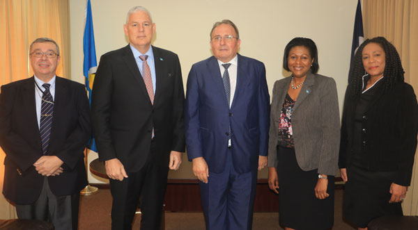 img: Left to right - Deputy Chief of Mission in the French Embassy, Philippe Seigneurin, Prime Minister of Saint Lucia, Allen Chastanet, Minister in the Ministry of External Affairs Sarah Flood–Beaubrun, and Permanent the Min. of External Affairs, Dr. Rufina Frederick.
