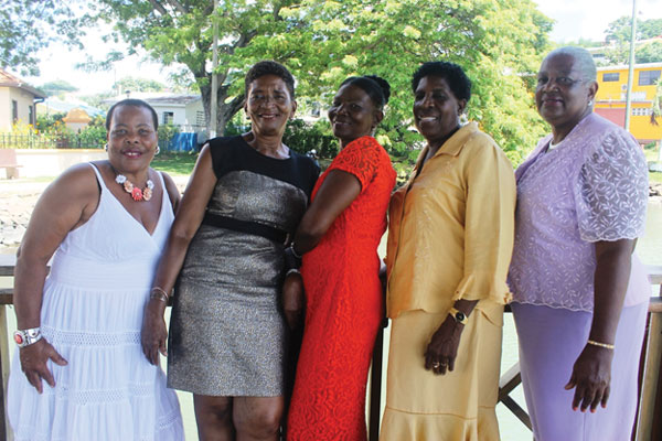 img: Miss Club 60 Pageant contestants [from left to right]: Patricia Joseph, Paula Gibson, Vera Jn. Baptiste, Mary Francis and Theresa Howell (Dennery).