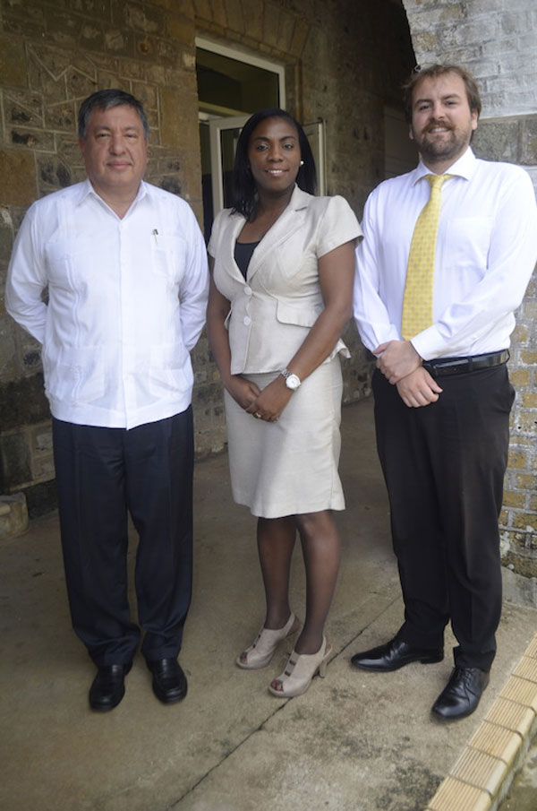 img: Ambassador of Mexico to the OECS His Excellency Luis M. Lopez Moreno OECS Tourism Specialist Dr. Lorraine Nicholas and Third Secretary of the Embassy of Mexico Mr.