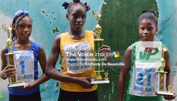 Image: (L-R) Champions they're Merkala Gillard, Shania St. Pierre and Arnicka Mathurin (PHOTO: Anthony De Beauville)
