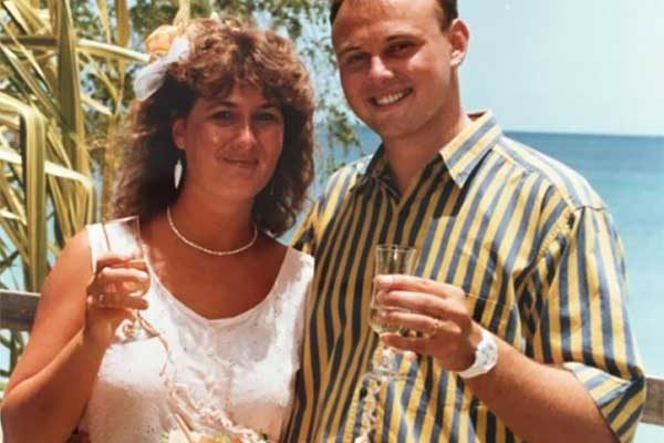 Image: The Curryers on their wedding day 25 years ago.