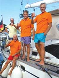 Image: Crew onboard ARC+ Unconditional happy to be in Saint Lucia (Photo:WCC)