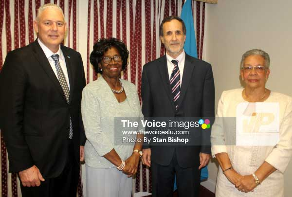 Image: Dr. Charmaine Gardner (far right) with Prime Minister Allen Chastanet, Dame PearletteLouisy and Ambassador Amihai-Bivas at Tuesday's reception. [PHOTO: Stan Bishop]