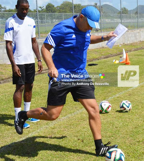Image: FIFA Instructor Kim Poulson kicking the right way. (Photo: Anthony De Beauville)