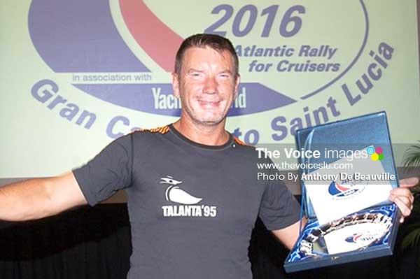 Image: Spirit of the ARC 2016 - Mikael Ryking from yacht Talanta. (Photo: Anthony De Beauville)