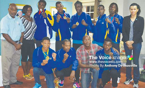 Image: A photo moment for Team Saint Lucia, Ministry of Youth Development Officials and SLBA representatives on arrival at George F.L. Charles V.I.P. lounge. (PHOTO: Anthony De Beauville)
