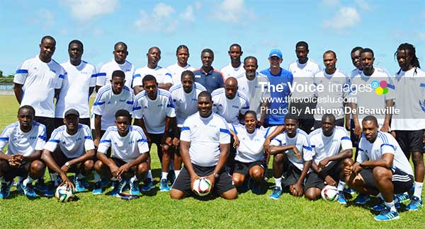 Image: The group takes a time out following a training session for a photo moment.    (Photo: Anthony De Beauville)