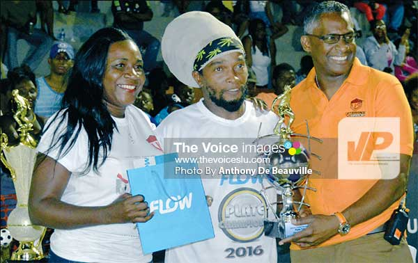 Image: (L-R) FLOW representative Adriana Mitchel-Gideon, MVP of the finals Ernie Soudatt (VFS) and Veterans In Sports Inc. CEO Alvin Malaykhan..(PHOTO: Anthony De Beauville)