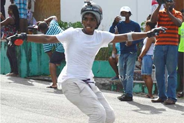 Image: Alexander in action during the longboarding competition. (Photo: Anthony De Beauville)