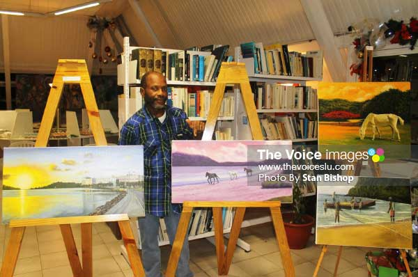 Image of Artist Cedric George at Artist Circle's first exhibition at Alliance Francaise last December. [PHOTO: Stan Bishop]