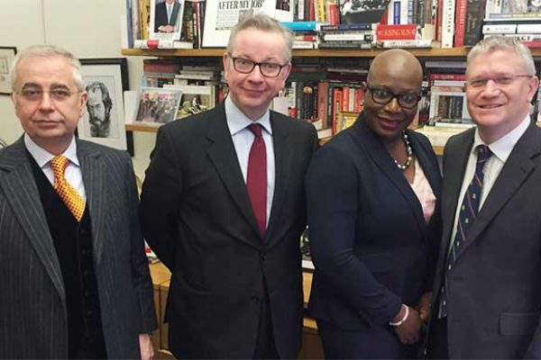 Image: Left to Right: John Kennedy, Michael Gove MP, Dr. Gale Rigobert, Andrew Rosindell MP.