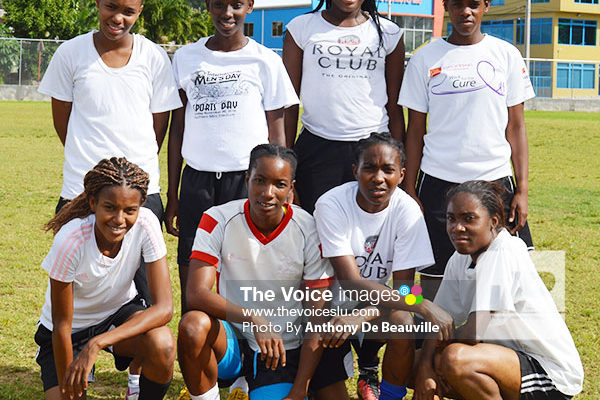Image: National female footballers at Saturday's trials. (Photo: Anthony De Beauville)