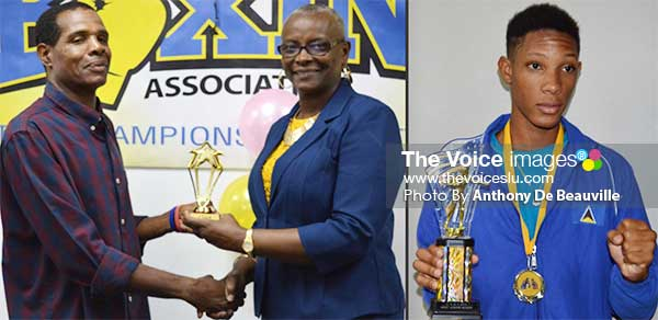Image: Omar Christopher 1 (l-r) SLBA Head Coach Conrad Frederick receiving the top coach award and Best Youth Boxer Omar Christopher. (PHOTO: Anthony De Beauville)