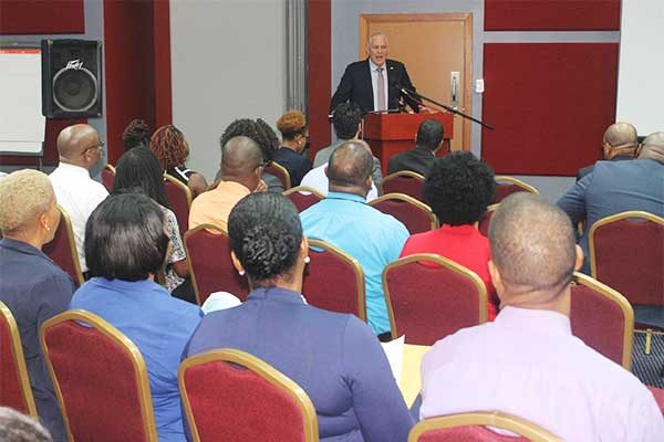 Image: Prime Minister Chastanet addressing the meeting.